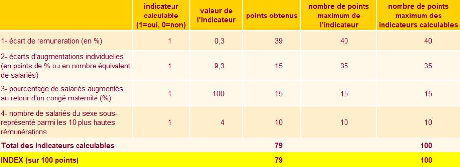 Index de l'égalité professionnelle chez REGALETTE - 2020